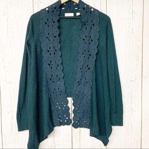 Sleeping on Snow teal felt panel open cardigan M